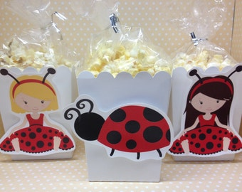 Ladybug Party Popcorn or Favor Boxes - Set of 10