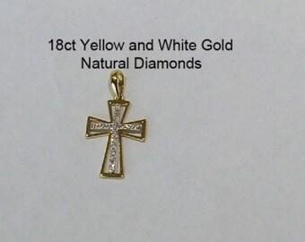 18ct 750 Yellow and White Gold Natural Diamond Crucifix Cross Pendant