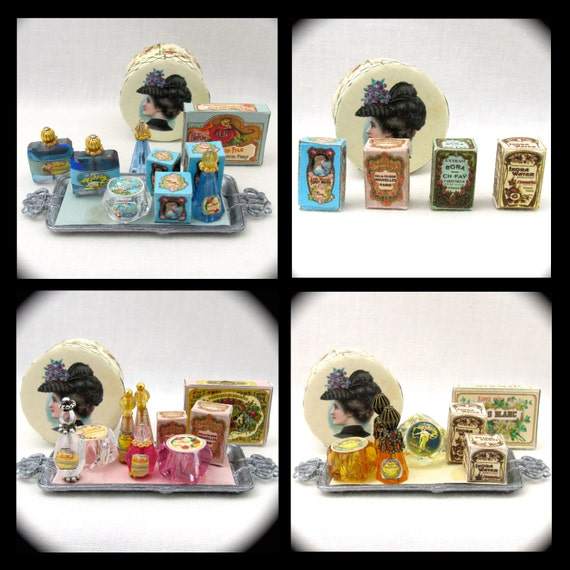 LADIES PERFUME Display Vanity Table PDF Dollhouse Doll Miniature Tutorial and Printie Dollhouse 1:12 Scale Victorian Women's Accessories