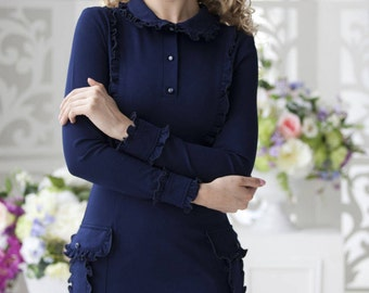"Stylish dark blue dress ""Dark water"" with textured pockets and ruffle. Midi dress"