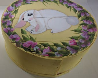 Pretty Bunny! Hand Painted Re Purposed Wood Cheese Box. Uses: Easter Box Gift Box, Storage, Organization, Decor, & focal point of a vignette