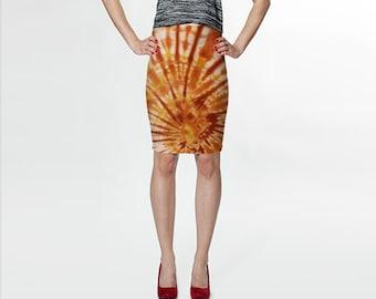 Tie Dye Skirt-Gold Terracotta Raisin-Hippie Skirt-Fitted Skirt-Pencil Skirt-Knee Skirt- XS S M L XL-Women's Skirt Clothing