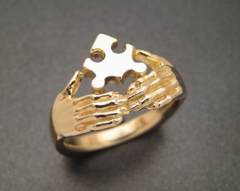 Golden Jigsaw Puzzle Ring