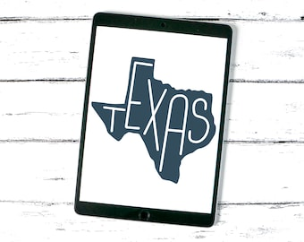 Texas State SVG Cut File, Small Business Commercial Use, United States, Texas Outline, Hand Lettered, DXF, PNG, Clip Art, Thin Lettering