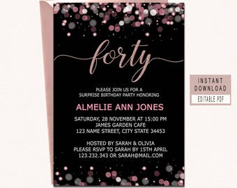 40th birthday invite etsy forty and fabulous invitation 40th birthday invitations for women 40th birthday invites instant download elegant black pink rose gold filmwisefo