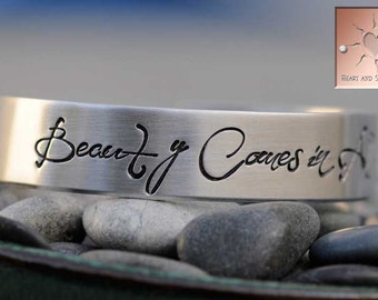 Beauty Comes In All Sizes Bracelet - Hand Stamped Custom Aluminum Cuff - Personalized