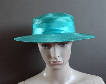 Right Impression hat 1960's straw hat 60's green hat vintage straw hat ladies vintage hat 60's summer hat