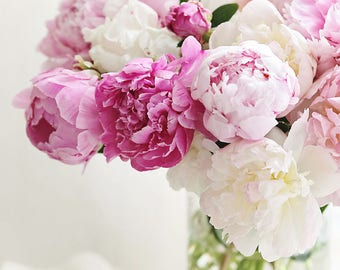 Vase of peonies,pink,shabby chic, fine art print, floral photography, pink,cottage decor