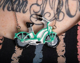 Aqua/Turquoise Bicycle Necklace