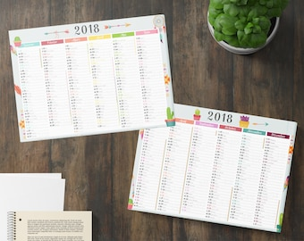 Desk calendar 2018 thick and soft - feathers, cactus and dream catcher patterns