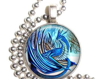 Blue Ice Dragon Altered Art Photo Pendant, Earrings and/or Keychain Round, Silver and Resin Charm Jewelry