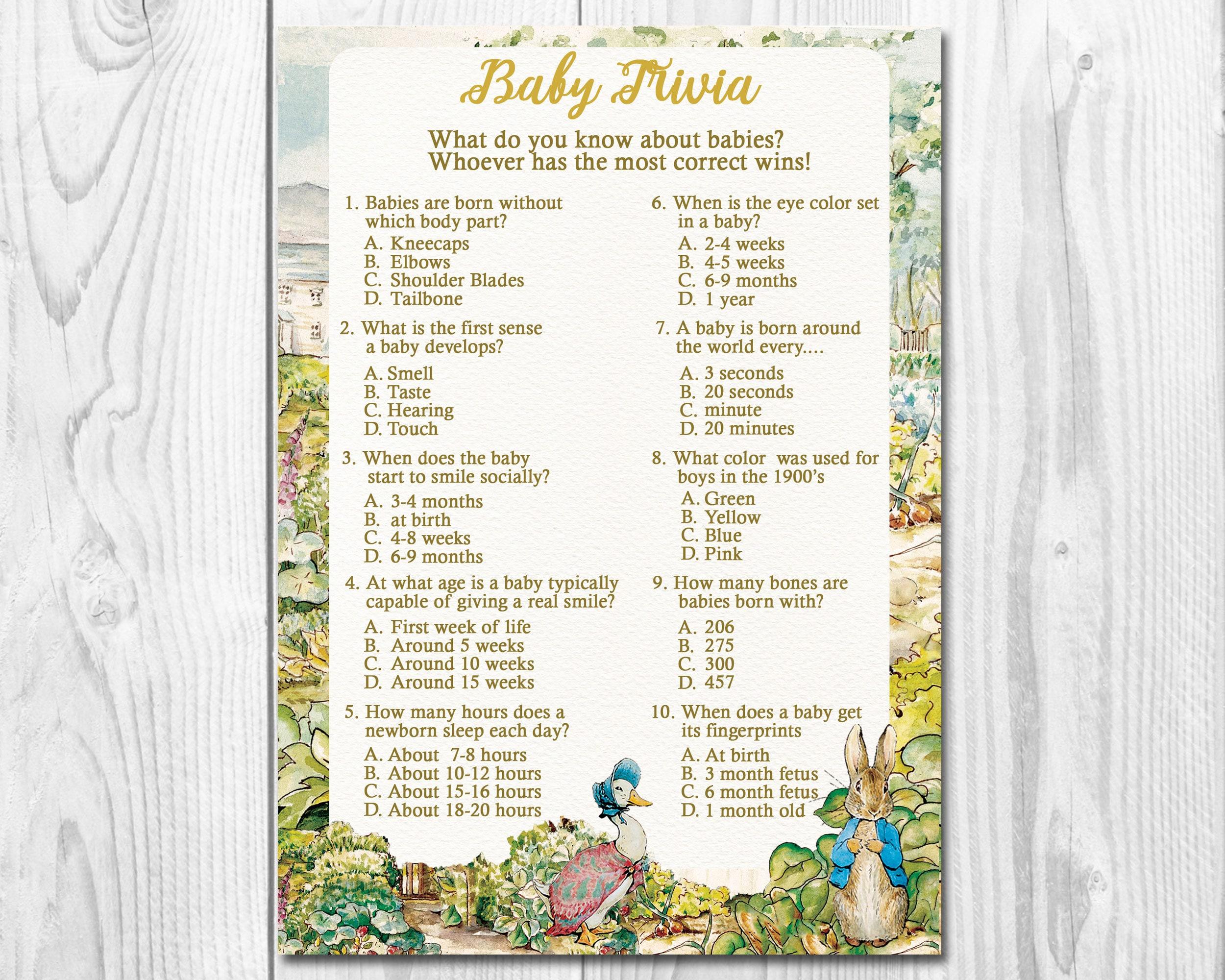 Peter Rabbit Baby Girl Shower Trivia Game Instant Download