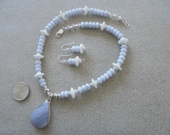Pendant Necklace and Earrings Set - Handmade - Blue Lace Agate, Lampwork Glass, Sterling Silver