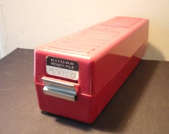 Kodak Ready File Slide Box with Hinged Lid 35 mm film - 1960s cherry red bakelite box storage desk decor for photographers collectors