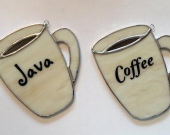 Handmade Stained Glass Coffee Mug Suncatcher