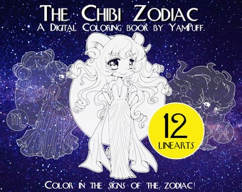 The Chibi Zodiac by YamPuff - 12 Linearts - Digital Coloring Book - Instant Download