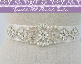 Crystal Bridal Dress Sash, Bridal Sash, Bridal Belt, Rhinestone Bridal Sash, Rhinestone Applique, Bridal Applique, Bridal Dress Sash