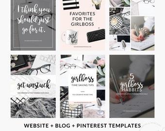SALE! Social Media Post Pack, 10 Set Templates Bundle for Instagram Pinterest Blog Facebook, Marketing Branding Kit