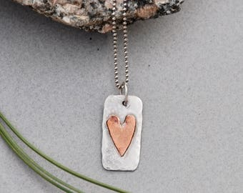 Mother's Day Gift. Sterling with Copper Heart. MOM stamped on back. Double Sided Charm. MOM gift grandma. New Mom. Mothers day. Easter