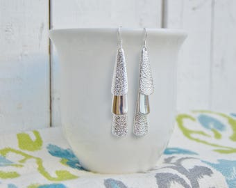 Sterling Silver Layered Drop Earrings, 925