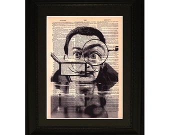 """Dali"""".Dictionary Art Print. Vintage Upcycled Antique Book Page. Fits 8""""x10"""" frame"""