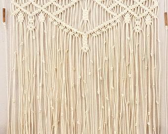 "Large Macrame Wall Hanging Window Curtain Boho Tapestry Wall Art ""Adagio"""