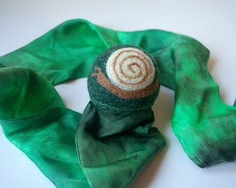 Snail Toy, Waldorf Inspired Comet Ball (All Natural Wool and Silk Toy for Kids and Toddlers)