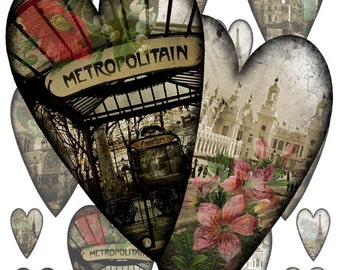 Paris City Scenes Hearts Collage Sheet - French Hearts - Altered Art - Instant Download - Printable