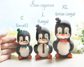 XL EXTRA LARGE Penguin cake toppers wedding or centerpieces - unique bride groom figurines wedding gift animals table custom fun elegant