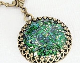 Opal Necklace, Rare Vintage Green Fire Opal Necklace, Emerald Green Necklace, Green Opal Pendant Necklace, Glass Opal Jewelry