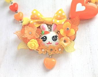 Kawaii Bunny Halskette mit Bogen orange gelb Fairy Kei Lolita