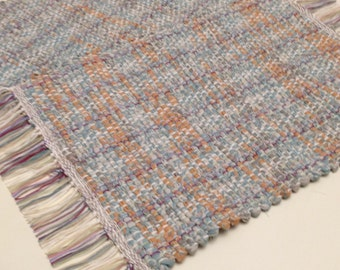 Hand Woven Placemats woven on a Loom, beige and orange placemats, doll rug, small table runner
