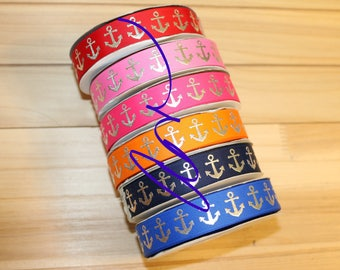 7/8 grosgrain ribbon, 3 yards, Anchor, Silver Foil, USDR
