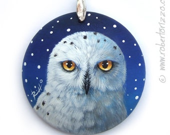 Hand Painted Art Necklace with an Irresistible Snowy Owl! Original Fine Detailed Jewelry 100% Handpainted by the Artist Roberto Rizzo