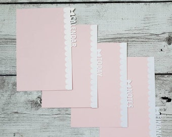 Planner Dividers - Bow Tabs -  Blush Scalloped Dividers - Planner Accessory - Pocket, Field Notes, Personal, B6 Slim, Standard, A5