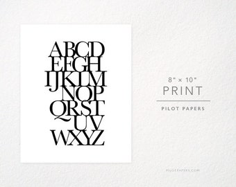18x24, 8x10 - typography alphabet poster - black and white