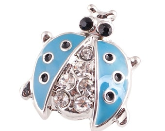 1 PC - 18MM Blue Ladybug Rhinestone Silver Charm for Candy Snap Jewelry KC9612 Cc2215