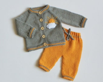 Knitted baby girl outfit grey and yellow set knit newborn merino set merino cardigan and trousers MADE TO ORDER