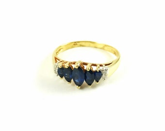 Vintage Sapphire and Moissanite 10k Gold Ring