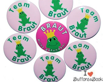 10 x JGA buttons hen party frog