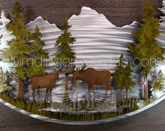 Moose Metal Art Wall Decor Cabin Art Hunting Art Nature Decor Woodland