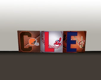 """Cleveland Sports Letters Presented on an Art Box Frame 9.5x26"""""""