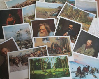 16 Vintage Soviet Postcards - Russian Art Prints - USSR 1972