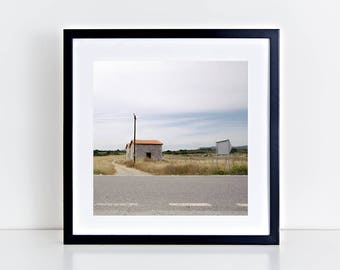 The little house I used to live in, Rhodes - Physical fine art photography print, square, color print, colour, highway, open road, poster