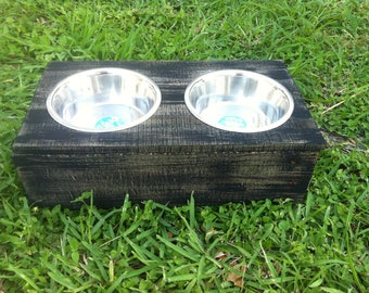 Rustic Wood Large Dog Bowl Feeder