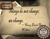 Thoreau Change Quote Victorian Autograph Book Sheet Printable Aged Paper Digital Ephemera Scrapbook Stationery Supply Photo Old Background