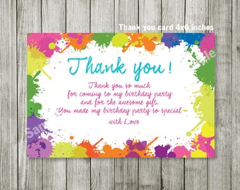 Paint splatter Thank you card - Paint splatter birthday party - boy girl invitation - color invitation - personalized - printable