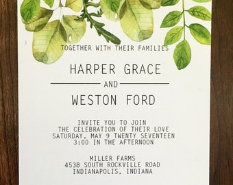 Leaves Green Boho Simple Wedding Invitation