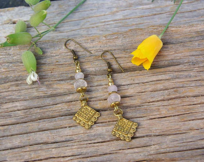 Brass earrings Mod. Alex, with rose faceted quartz, tribal earrings, gift for her, yoga talisman, quartz amulet,free shipping, yoga talisman