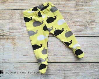 Whale footed leggings  3-6 months